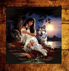 Indian maiden & wolf