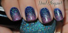 Revlon Royal with one coat of Kleancolor Holo Blue over top and Kleancolor Holo Pink on the tips.
