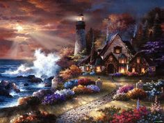 Seaside Hideaway | Artist: Thomas Kinkade He was an amazing artist!  I love his paintings. They are so beautiful ️LO