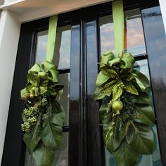 Exterior Christmas Decorations: We're Going Green christmas decorations simple Christmas House Lights, Christmas Wreaths For Front Door, Christmas Greenery, Christmas Door Decorations, Christmas Swags, Elegant Christmas, Green Christmas, Rustic Christmas, Christmas Diy
