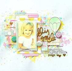 American Crafts 5th and Frolic collection. Shimmerz Paints: This Smile Layout by Missy