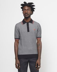 Fred Perry Two Colour Texture Knit Shirt Black #StyleMadeEasy