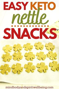 Looking for easy keto savory snacks to reap all the health benefits of stinging nettle? These shamrock shaped food ideas are the perfect healthy food suggestions for healthy spring snacks for kids! These savory keto 4 leaf clover cookies will help you take advantage of the stinging nettle powder benefits! Add these keto nettle cookies to your easy sugar detox plan and slim down diet for effective slimming – perfect for going gluten free for beginners! #healthysnacks #ketosnacks… Banting Recipes, Vegan Recipes Easy, Low Carb Recipes, Snack Recipes, Dinner Recipes, Kitchen Recipes, Delicious Recipes, Savory Snacks, Easy Snacks