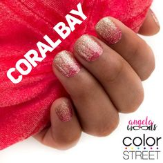 Coral Bay is a gorgeous gold to pink ombré. 100% real nail polish strips, easy to apply without heat or tools. #colorstreet