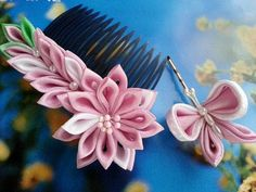 Pink Lily And Butterfly - Fabric Flower Hair Comb And Hair Pin Tsumami Kanzashi