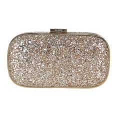 Gold Glitter fabric Engraved(!) Marano Evening Bag Anya Hindmarch