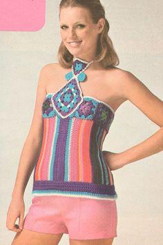 Vintage 1970s Crochet Halter Top Pattern via Etsy.