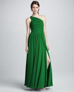 Halston Heritage Long One Shoulder Emerald Green Bridesmaid Dress