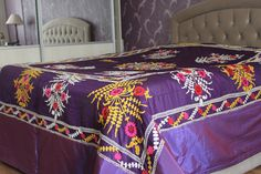 Silk Suzani Bed Cover, Handmade Antique, Embrodery Bedcover, Suzani textile, Ethnic bedcover, Bohemian Bedcover,Bohemian Style, by ZeyCollection on Etsy
