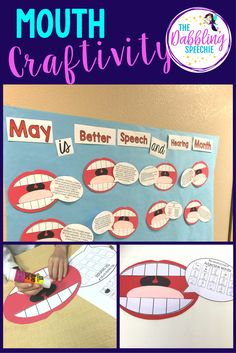 Make a mouth craft for any speech and language target. Turn this mouth craftivity into a bulletin board for better speech and hearing month.