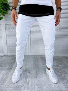 Pantaloni barbati conici albi PREMIUM B2762 B17-4