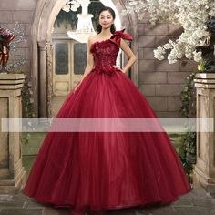 Red One Shoulder Applique Quinceanera Wedding Dress Formal Prom Party Ball Gown #victor10188 #BallGown #Cocktail