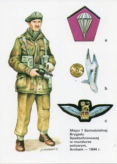 Major 1 Samodzielnej Brygady Spadochronowej w mundurze polowym, Arnhem - 1944 r. British Uniforms, Ww2 Uniforms, Military Art, Military History, Poland Ww2, Osprey Publishing, Parachute Regiment, Market Garden, Army Uniform