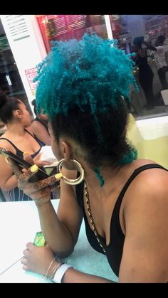 Dyed Curly Hair, Curly Hair Styles, Natural Hair Styles, Blue Natural Hair, Blue Hair, Baddie Hairstyles, Pretty Hairstyles, Dreads, Biracial Hair