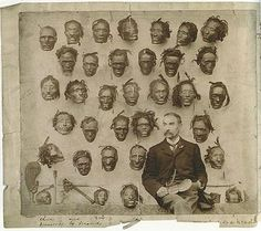 Real image of Robley with his collection of Mokomo Maori tribal heads. They were popular for trading due to the elaborate facial tattoo's. Photo Vintage, Vintage Photos, Dark Fantasy, Old Pictures, Old Photos, Amazing Pictures, La Danse Macabre, Henna, Shrunken Head