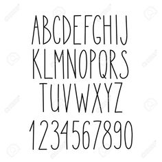 Decorative font for books, posters, postcard, web hand drawn style typography. Doodle Alphabet, Tattoo Fonts Alphabet, Handwriting Alphabet, Hand Lettering Alphabet, Hand Drawn Lettering, Doodle Lettering, Lettering Styles, Simple Calligraphy Alphabet, Alphabet Letters