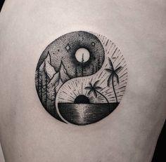 Yin yang, beach and mountain tattoo Yin Yang Tattoos, Tatuajes Yin Yang, Neue Tattoos, Bild Tattoos, Symbol Tattoos, Body Art Tattoos, Stomach Tattoos, Tattoo Symbols, Celtic Tattoos