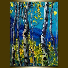 Original Textured Palette Knife Landscape Painting Oil on Canvas Contemporary Modern Art Birch 12X16 by Willson Lau. $115.00, via Etsy.