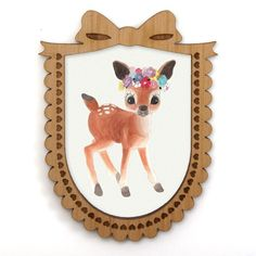 Flower Deer Illustrated Brooch