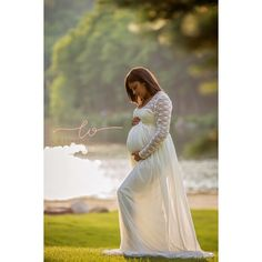 Cream Lace Chiffon Long Sleeves Lining Maternity Gown Long Sleeves... ($120) ❤ liked on Polyvore featuring maternity, black, skirts and women's clothing