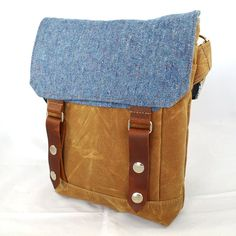 Blue Speck Waxed Canvas Wooly Satchel by WoolyBison on Etsy, $125.00