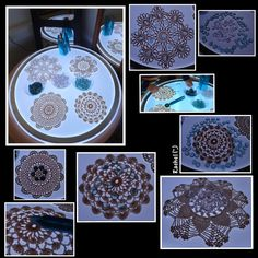 "Doilies, glass pebbles and tweezers on the light panel from Rachel new ("",)"