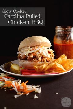 Slow Cooker Carolina Pulled Chicken BBQ | Bluegrassbites.com