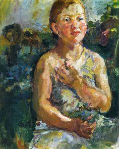 """expressionism-art: """"A Girl with Flowers by Oskar Kokoschka """""""