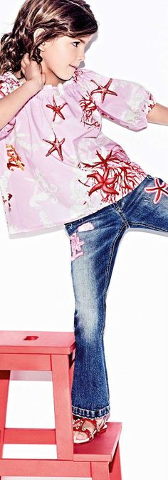 ea7f3fa3 Young Versace Girls Under The Sea Coral Print Shirt & Sea Star Patch  Jeans for