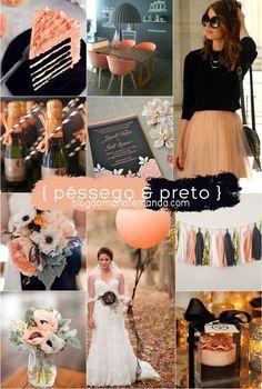 Decoração de Casamento : Paleta de Cores Pêssego e Preto