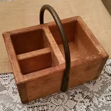 wooden rustic condiments box