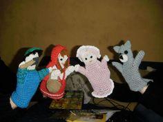 titere mano caperucita roja leñador abuelita lobo, crochet