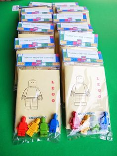 a frugal appetite: D. Lego Favor Bags - New Ideas Lego Party Favors, Lego Themed Party, Party Favors For Kids Birthday, Lego Birthday Party, 6th Birthday Parties, Party Favor Bags, Boy Birthday, Lego Parties, Diy Coloring Books