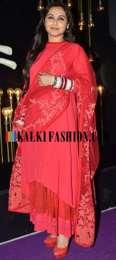 Newly wed Rani Mukherjee attends Diva'Ni store launch in a red Sabyasachi Suit http://www.kalkifashion.com/