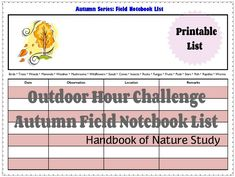 OHC Autumn Field Notebook List - printable and tips Study Board, Nature Study, Nature Journal, Botany, Homeschooling, Notebook, Printable, Autumn, Teaching