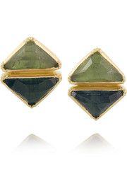 BROOKE GREGSON  18-karat gold tourmaline earrings