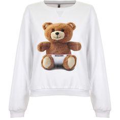Moschino Teddy Bear Sweatshirt ($150) ❤ liked on Polyvore featuring tops, hoodies, sweatshirts, teddy bear sweatshirt, moschino, collared sweatshirt, cotton sweatshirts and white top