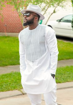 Men's African Wear, White with Gray Embroidery, African Print, African Designs, African Clothing, African Fashion