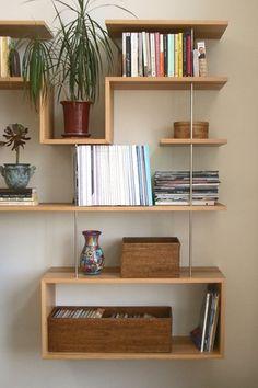 Modern Living Room with Novica Carnival Murano Hand Blown Vase, Custom Floating Shelves, Custom floating shelves