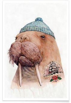 Tatooed Walrus as Premium Poster by Animal Crew | JUNIQE