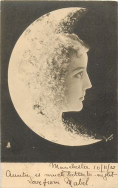 woman's face to right of moon, faces & looks right, fantasy composition