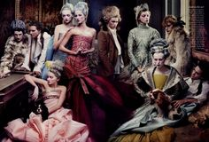 18th century, blush, christian dior, colourful, couture, editorial, fashion, french, gemma ward, gisele bunchen, haute couture, high fashion, karen elson, marie antoinette, models, piano, powdered wig, salon