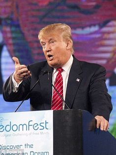 Getting involved: Trump, pictured at a campaign event in Las Vegas, used the escape of a d...