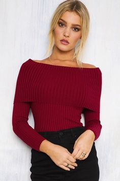 Off The Shoulder Pullover Sweater Crop Top