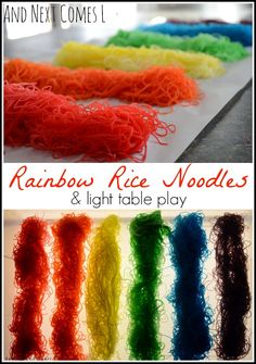 Instructions on how to dye rice noodles for sensory play. And a suggestion for how to play with rainbow rice noodles on the light table. Sensory Bags, Sensory Table, Sensory Activities, Sensory Play, Preschool Activities, Reggio, Sensory Lights, Rainbow Rice, Special Needs Kids