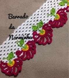 Crochet Boarders, Crochet Edging Patterns, Crochet Lace Edging, Crochet Motifs, Thread Crochet, Crochet Designs, Crochet Flowers, Crochet Baby, Stitch Patterns
