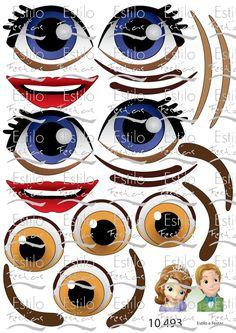 Stickers Princess doll eyes, princesa sofia e principe james adesivos,  olhos e bocas princesa,  adesivos para balões Pinata Ideas, Flower Pot People, Flower Pots, Flowers, Stickers, Envelopes, Biscuit, Diy And Crafts, Balloons