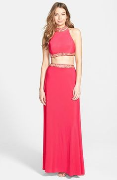 JOANNA CHEN NEW YORK Embellished Jersey Two-Piece Gown
