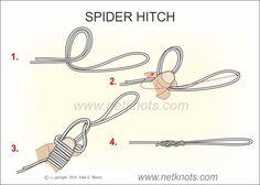 "Képtalálat a következőre: ""spider hitch fishing knot"" Fishing Knots, Fishing Tips, Fishing Lures, Rope Knots, Spider, Knowledge, Kayaks, Camping Survival, Surf"