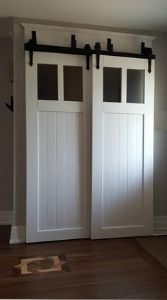 diy faux barn doors on a sliding bypass closet door 02 featured on edit bedrooms pinterest closet doors barn doors and barn